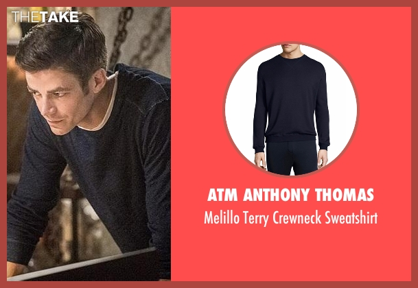 ATM Anthony Thomas blue sweatshirt from The Flash seen with Barry Allen / The Flash (Grant Gustin)