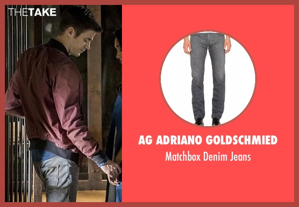 AG Adriano Goldschmied gray jeans from The Flash seen with Barry Allen / The Flash (Grant Gustin)