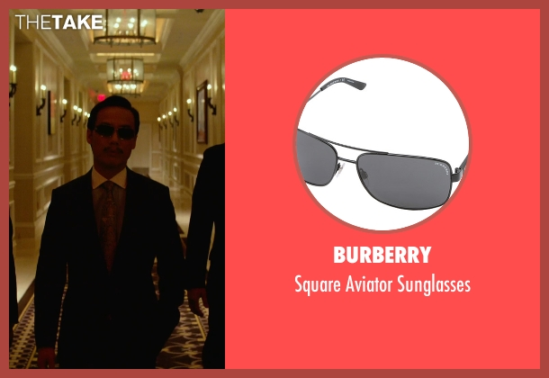 Burberry black sunglasses from Focus seen with BD Wong (Liyuan)