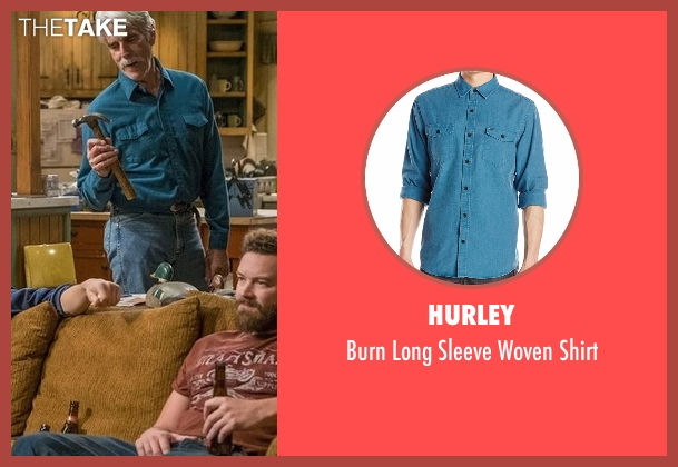 Hurley blue shirt from The Ranch seen with Beau Bennett (Sam Elliott)