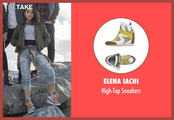 Elena Iachi gray sneakers from Power Rangers seen with Becky G. (Trini Kwan / Yellow Ranger)