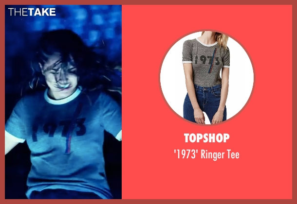 Topshop  gray tee from Power Rangers seen with Becky G. (Trini Kwan / Yellow Ranger)