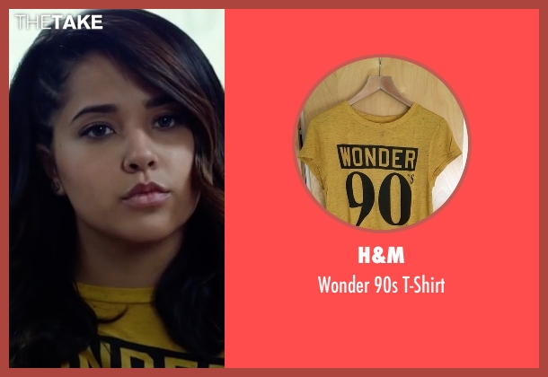 H&M yellow t-shirt from Power Rangers seen with Becky G. (Trini Kwan / Yellow Ranger)