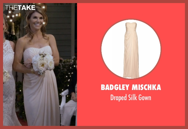 Badgley Mischka beige gown from Fuller House seen with Becky Katsopolis (Lori Loughlin)