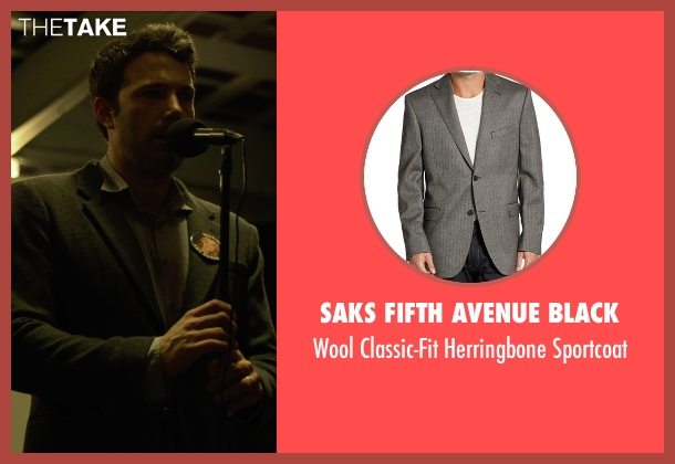 Saks Fifth Avenue BLACK gray sportcoat from Gone Girl seen with Ben Affleck (Nick Dunne)