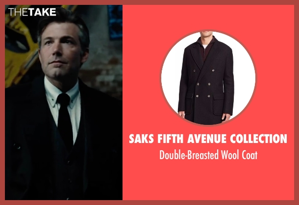 Saks Fifth Avenue Collection black coat from Justice League seen with Ben Affleck (Bruce Wayne / Batman)