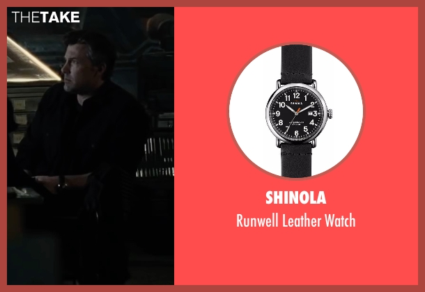 Shinola black watch from Justice League seen with Ben Affleck (Bruce Wayne / Batman)