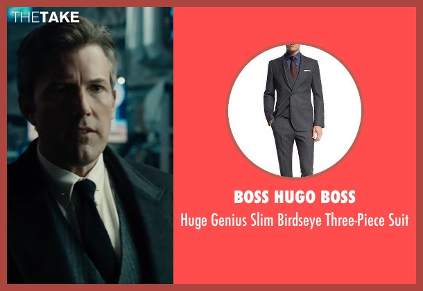 Boss Hugo Boss gray suit from Justice League seen with Ben Affleck (Bruce Wayne / Batman)