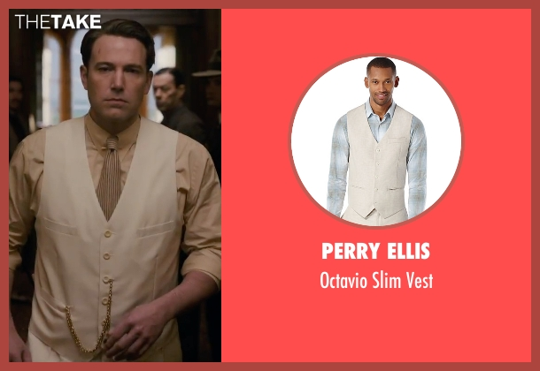 Perry Ellis beige vest from Live By Night seen with Ben Affleck (Joe Coughlin)