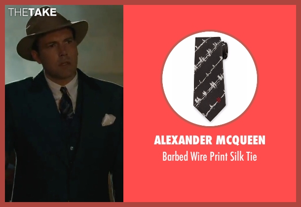 Alexander McQueen black tie from Live By Night seen with Ben Affleck (Joe Coughlin)