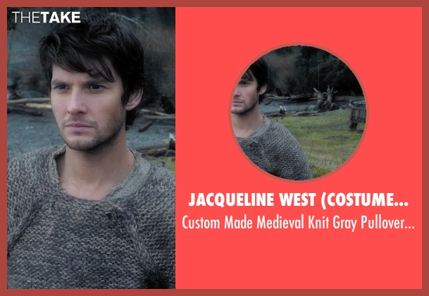Jacqueline West (Costume Designer) gray pullover from Seventh Son seen with Ben Barnes (Tom Ward)