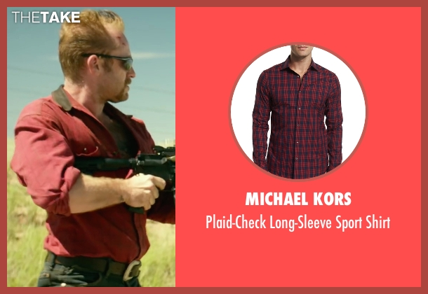 Michael Kors red shirt from Hell or High Water seen with Ben Foster (Tanner)