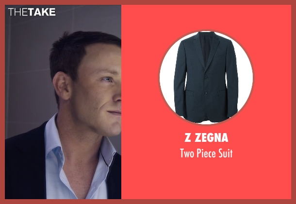 Z Zegna blue suit from The Program seen with Ben Foster (Lance Armstrong)