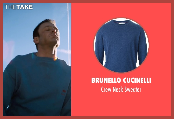 Brunello Cucinelli blue sweater from The Program seen with Ben Foster (Lance Armstrong)