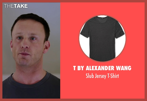 T By Alexander Wang gray t-shirt from The Program seen with Ben Foster (Lance Armstrong)