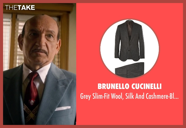 Brunello Cucinelli gray suit from Life seen with Ben Kingsley (Jack Warner)