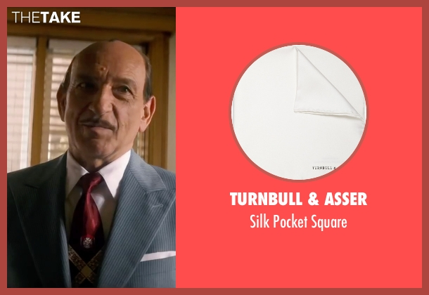 Turnbull & Asser white square from Life seen with Ben Kingsley (Jack Warner)
