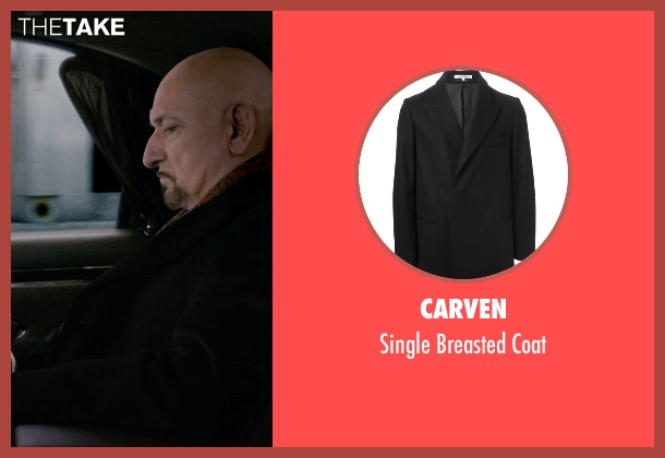 Carven black coat from Self/Less seen with Ben Kingsley (Damian)