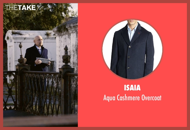 Isaia blue overcoat from Self/Less seen with Ben Kingsley (Damian)