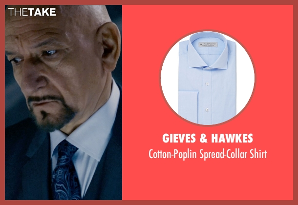 Gieves & Hawkes blue shirt from Self/Less seen with Ben Kingsley (Damian)