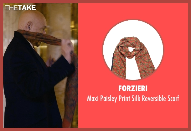 Forzieri red scarf from Self/Less seen with Ben Kingsley (Damian)