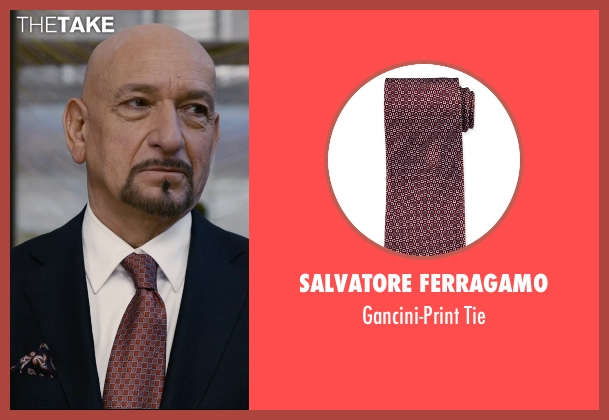 Salvatore Ferragamo red tie from Self/Less seen with Ben Kingsley (Damian)