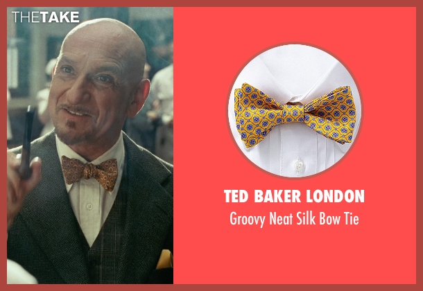 Ted Baker London yellow tie from Shutter Island seen with Ben Kingsley (Dr. Cawley)