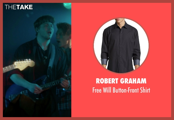 Robert Graham black shirt from If I Stay seen with Ben Klassen (Willamette Stone Band)