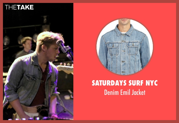Saturdays Surf Nyc blue jacket from If I Stay seen with Ben Klassen (Willamette Stone Band)