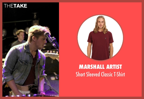 Marshall Artist red t-shirt from If I Stay seen with Ben Klassen (Willamette Stone Band)
