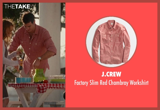 J.Crew red workshirt from No Strings Attached seen with Ben Lawson (Sam)