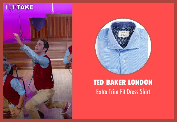 Ted Baker London blue shirt from Pitch Perfect 2 seen with Ben Platt (Benji Applebaum)