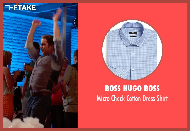 Boss Hugo Boss blue shirt from Pitch Perfect 2 seen with Ben Platt (Benji Applebaum)