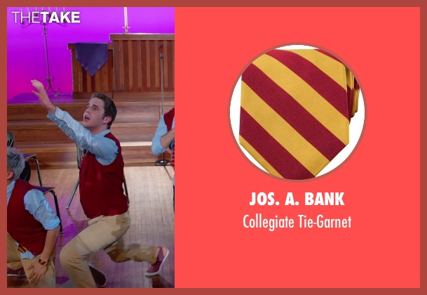 Jos. A. Bank gold tie-garnet from Pitch Perfect 2 seen with Ben Platt (Benji Applebaum)