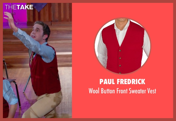 Paul Fredrick red vest from Pitch Perfect 2 seen with Ben Platt (Benji Applebaum)