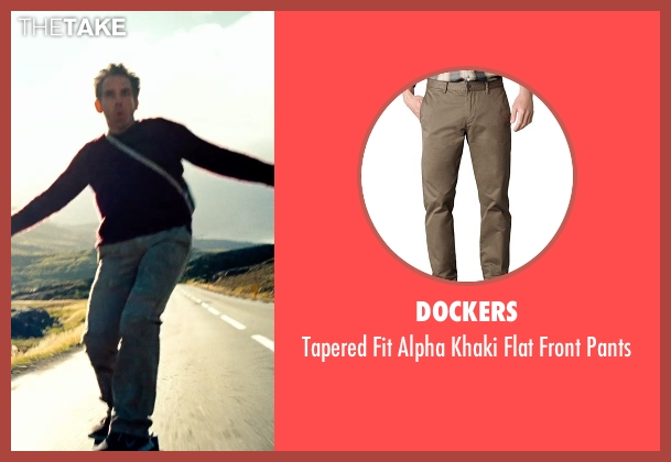 Dockers beige pants from The Secret Life of Walter Mitty seen with Ben Stiller (Walter Mitty)