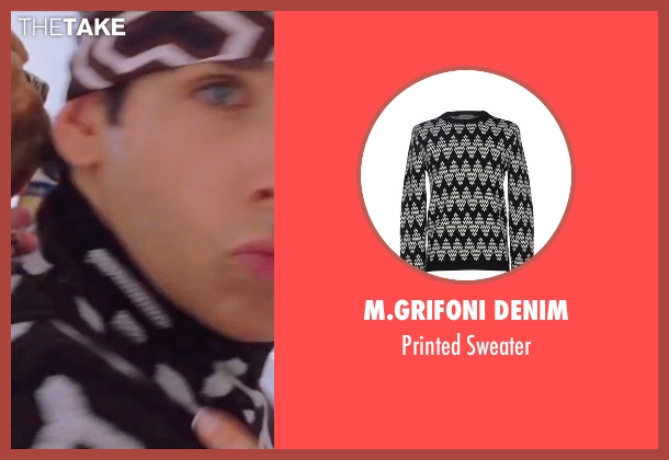 M.Grifoni Denim black sweater from Zoolander 2 seen with Ben Stiller (Derek Zoolander)
