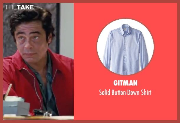 Gitman blue shirt from Inherent Vice seen with Benicio Del Toro (Sauncho Smilax)