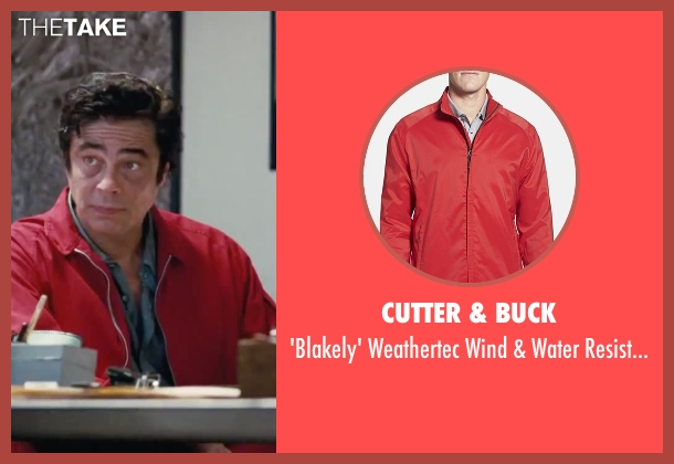 Cutter & Buck red jacket from Inherent Vice seen with Benicio Del Toro (Sauncho Smilax)