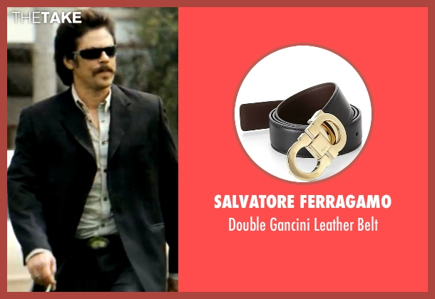 Salvatore Ferragamo black belt from Savages seen with Benicio Del Toro (Lado)