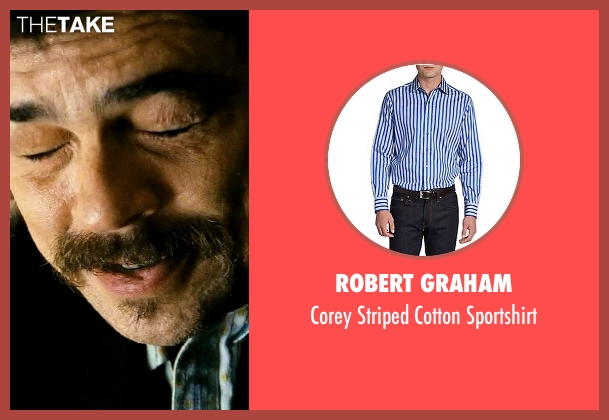 Robert Graham blue sportshirt from Savages seen with Benicio Del Toro (Lado)