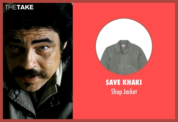 Save Khaki gray jacket from Savages seen with Benicio Del Toro (Lado)