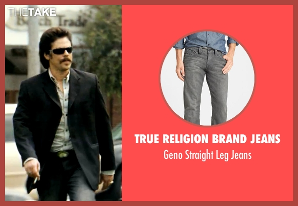 True Religion Brand Jeans gray jeans from Savages seen with Benicio Del Toro (Lado)