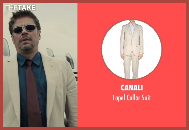 Canali beige suit from Sicario seen with Benicio Del Toro (Alejandro)