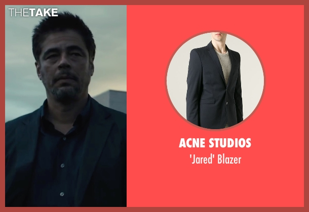 Acne Studios black blazer from Sicario seen with Benicio Del Toro (Alejandro)