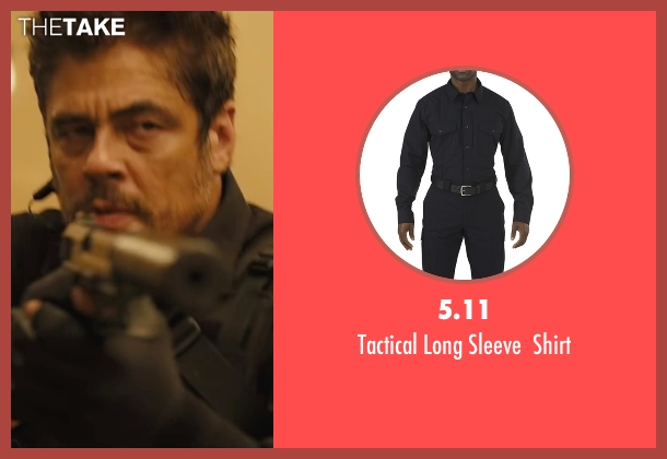 5.11 black shirt from Sicario seen with Benicio Del Toro (Alejandro)
