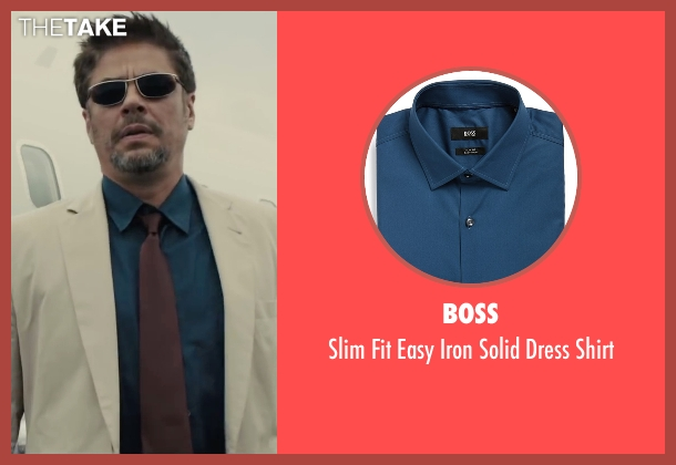 Boss blue shirt from Sicario seen with Benicio Del Toro (Alejandro)