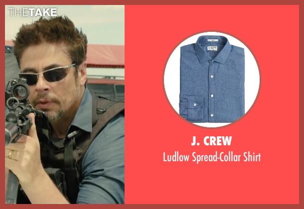 J. Crew blue shirt from Sicario seen with Benicio Del Toro (Alejandro)