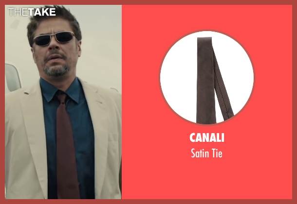 Canali brown tie from Sicario seen with Benicio Del Toro (Alejandro)