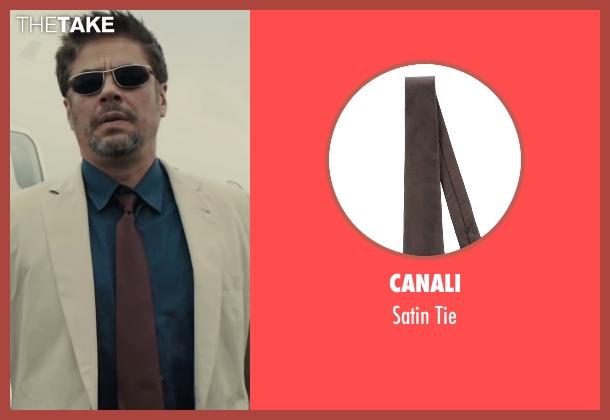 Canali brown tie from Sicario seen with Benicio Del Toro (Alejandro)